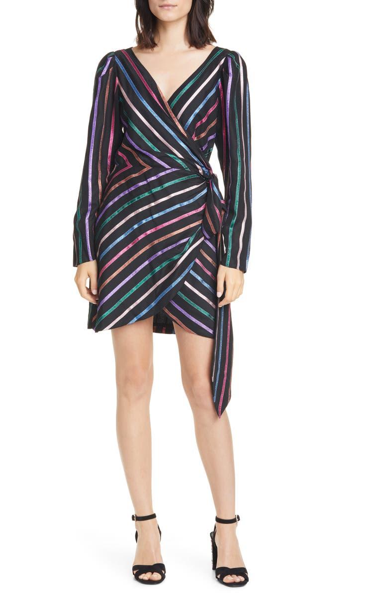 TANYA TAYLOR Magnolia Metallic Stripe Long Sleeve Wrap Dress, Main, color, BLACK MULTI