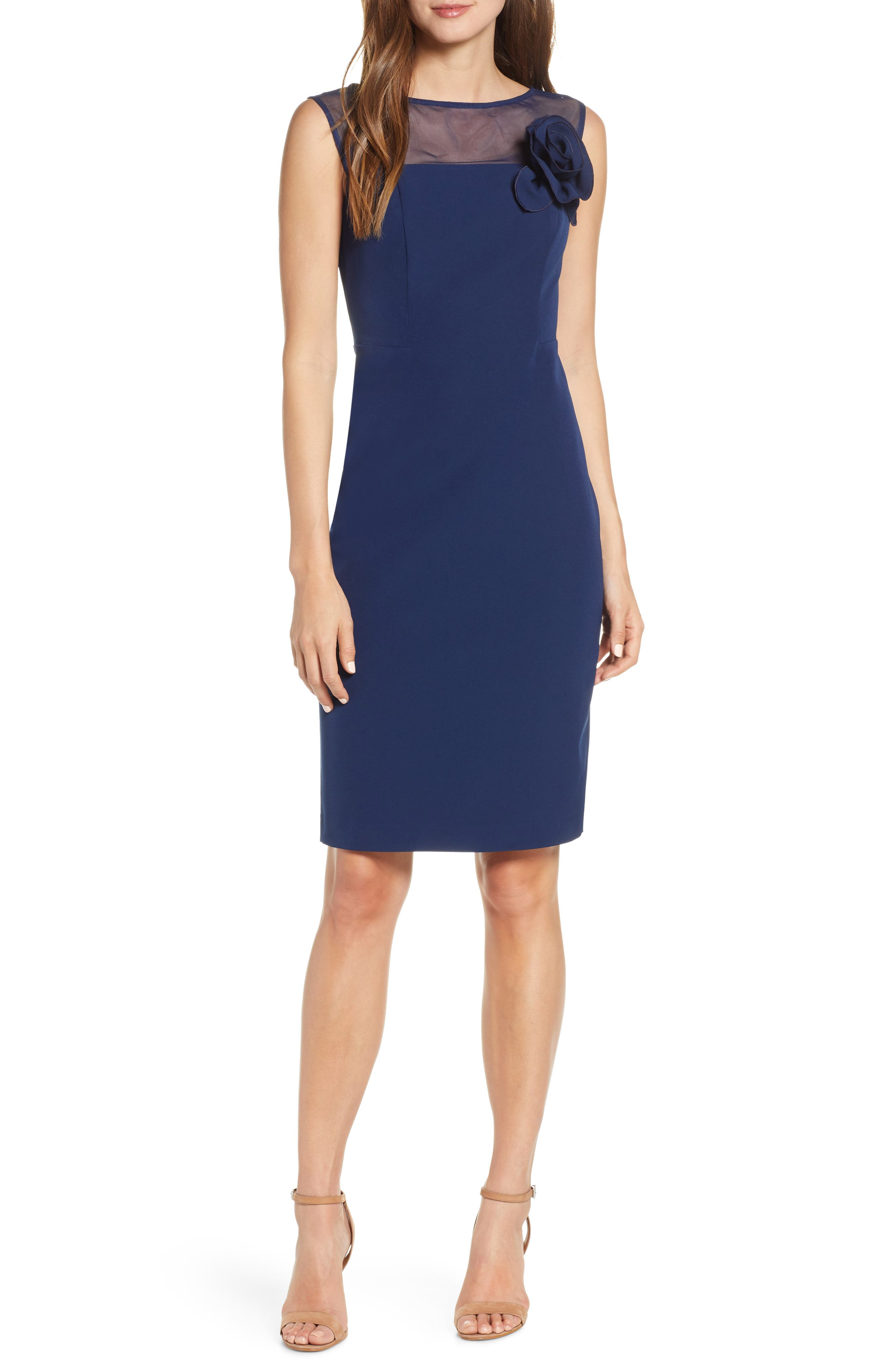 women's harper rose illusion bateau neck laguna crepe dress, size 18 (similar to 14w) - blue