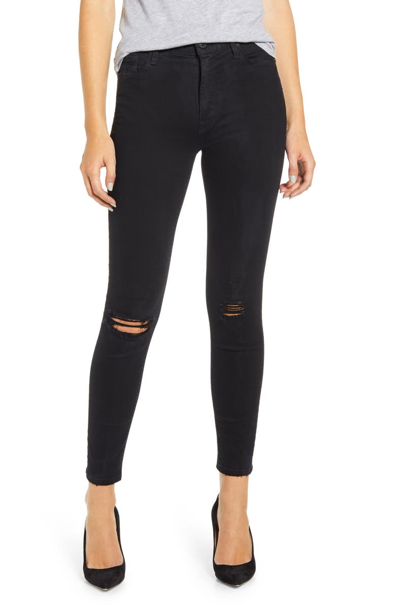 HUDSON JEANS Barbara High Waist Ripped Washed Black Skinny Jeans, Main, color, TILTED