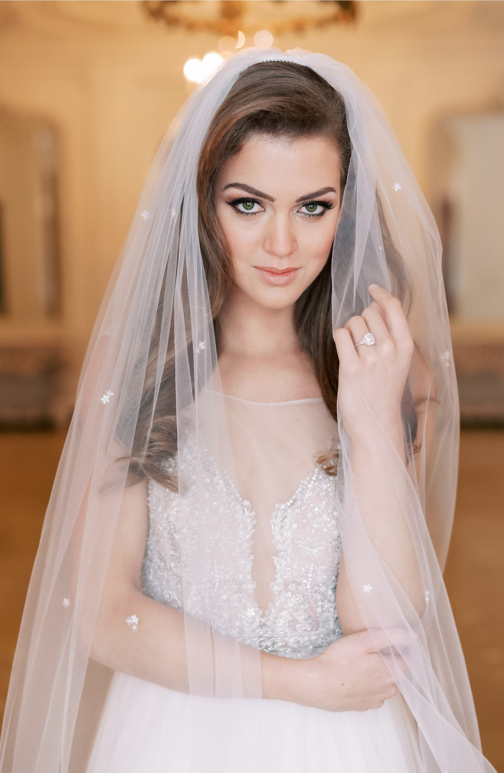 TONI FEDERICI Josie Embellished Chapel Veil, Alternate, color, LIGHT IVORY