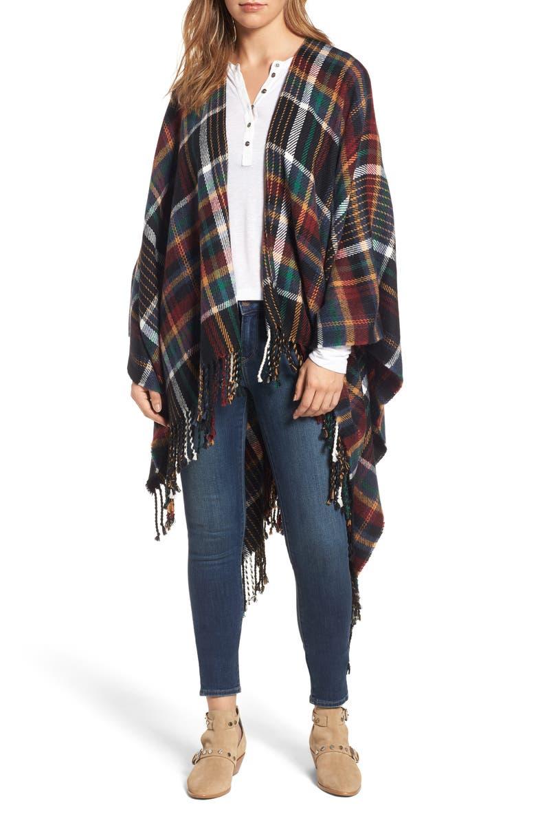 TREASURE & BOND Plaid Fringe Cape, Main, color, 001