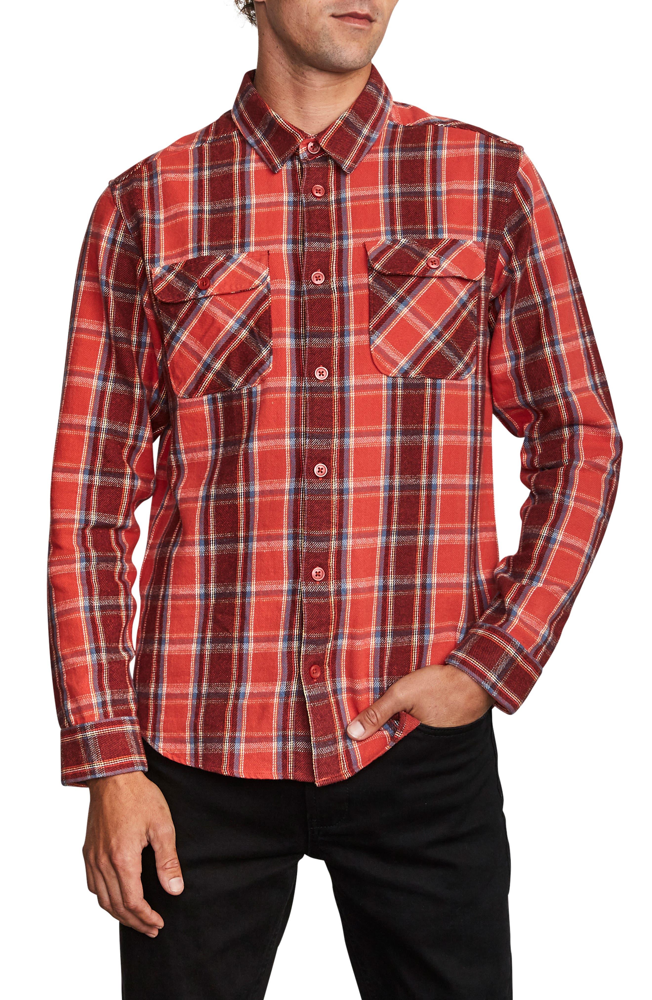 1950s Mens Shirts | Retro Bowling Shirts, Vintage Hawaiian Shirts Mens Rvca ThatLl Work Slim Fit Plaid Flannel Shirt $60.00 AT vintagedancer.com