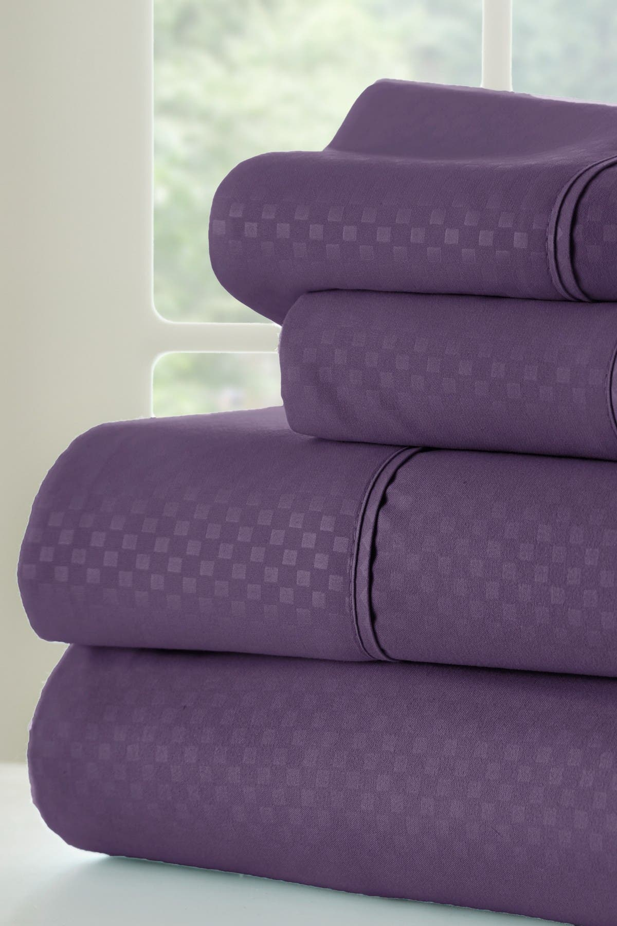 Image of IENJOY HOME King Hotel Collection Premium Ultra Soft 4-Piece Checkered Bed Sheet Set - Purple