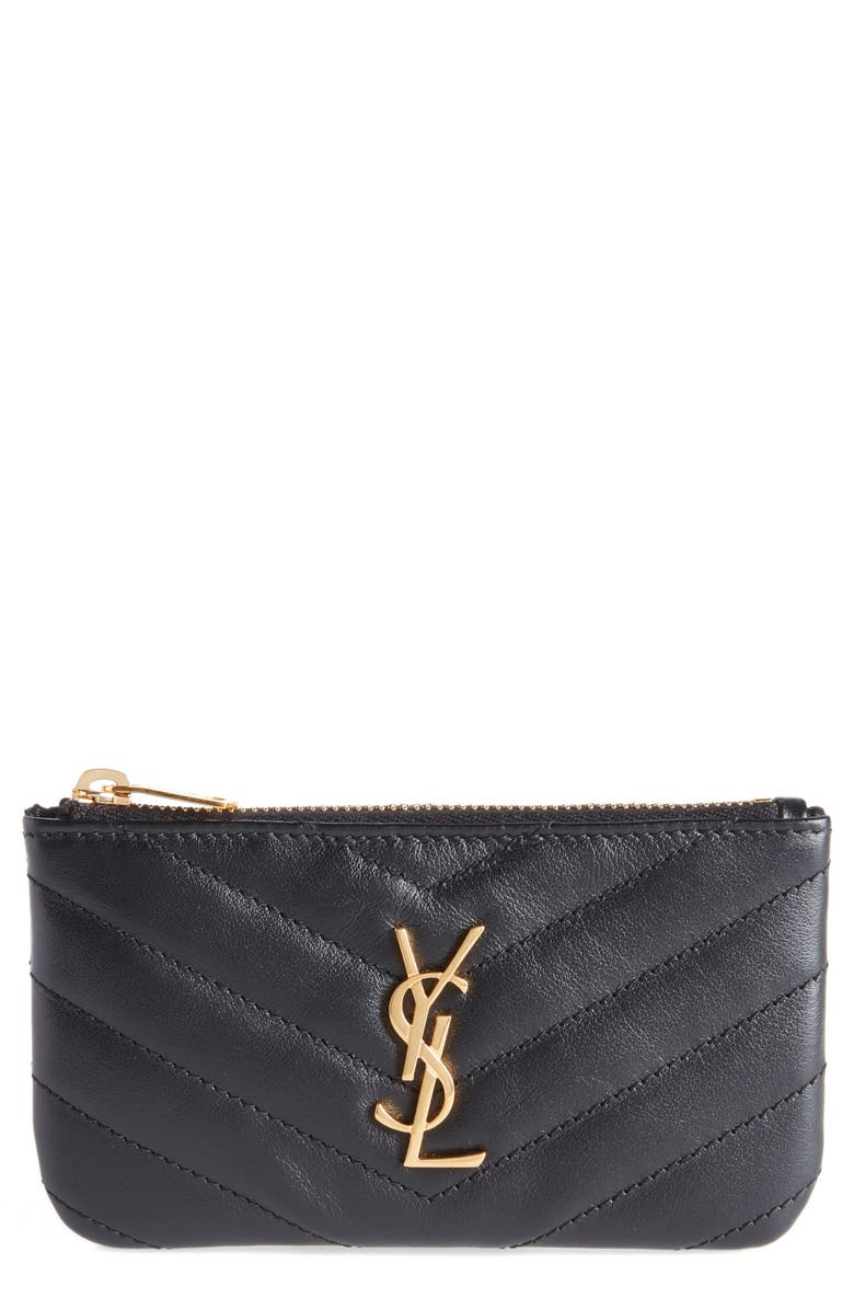 SAINT LAURENT Monogram Leather Key Pouch, Main, color, 001