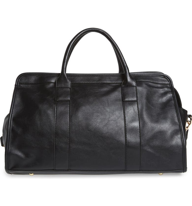 NU-G Faux Leather Overnighter Bag, Main, color, 001
