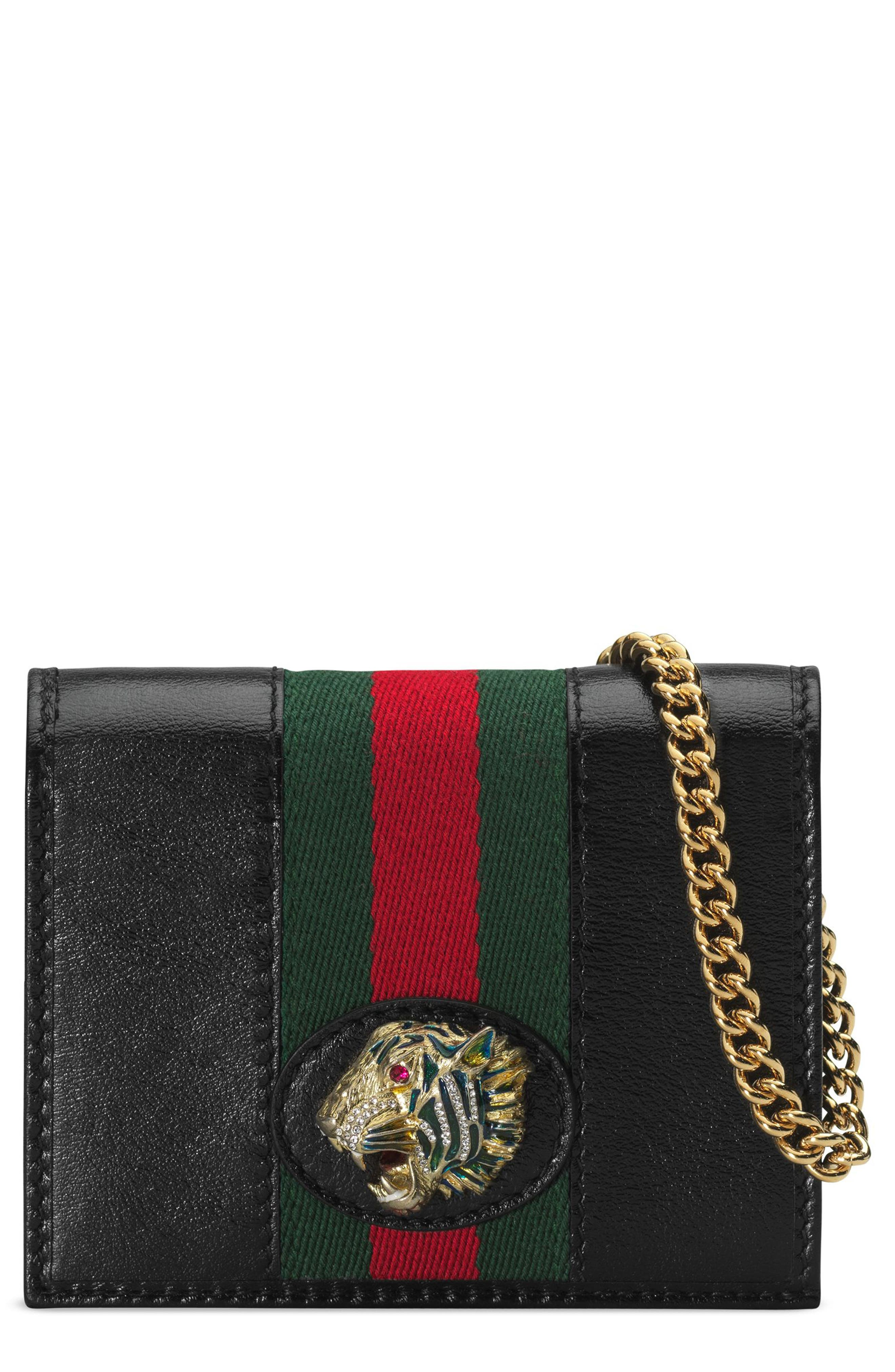 ,                             Rajah Calfskin Leather Card Case on a Chain,                             Main thumbnail 1, color,                             NERO/ VERT RED MULTI