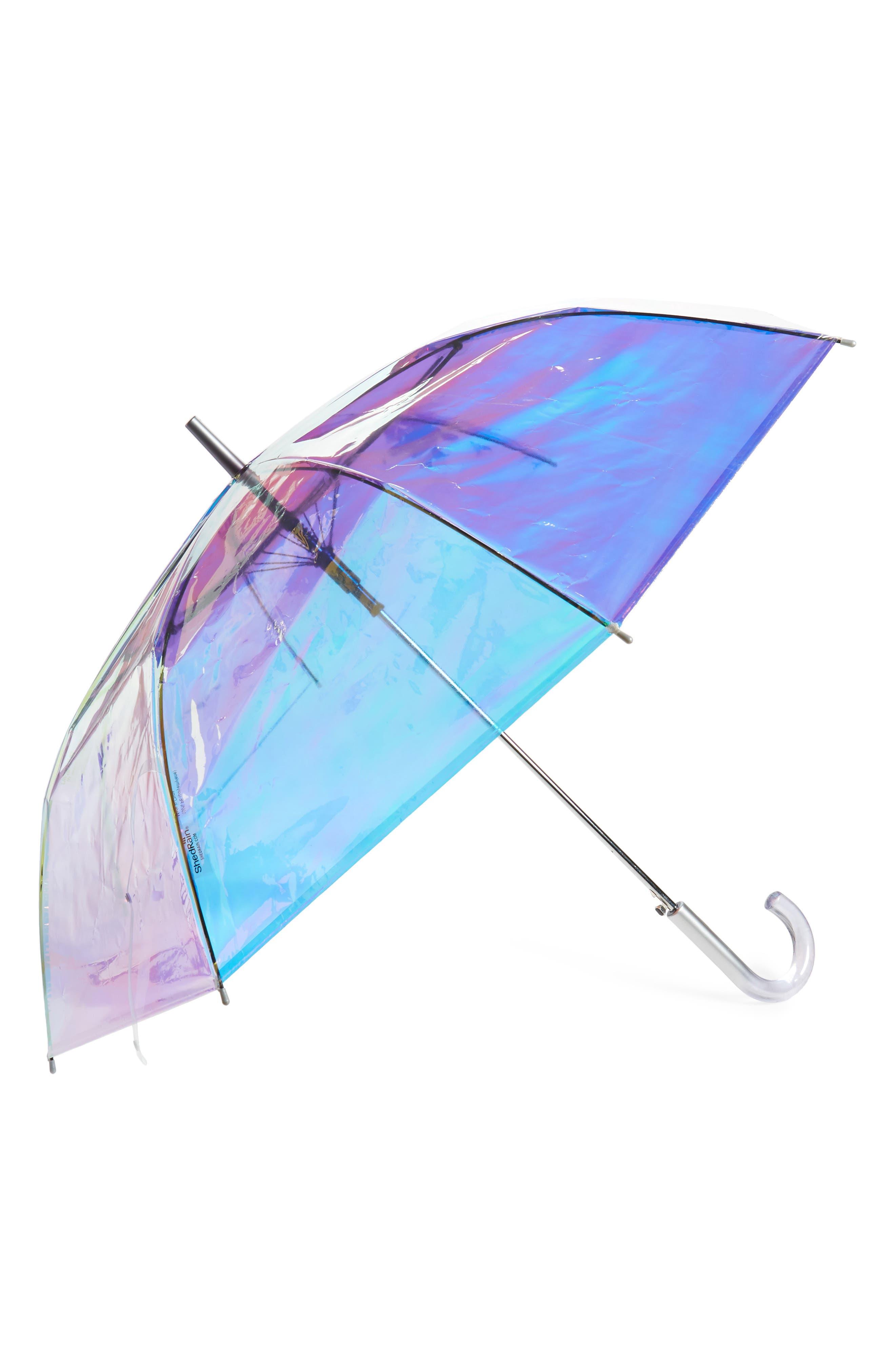 ,                             Iridescent Auto Open Stick Umbrella,                             Main thumbnail 1, color,                             IRIDESCENT