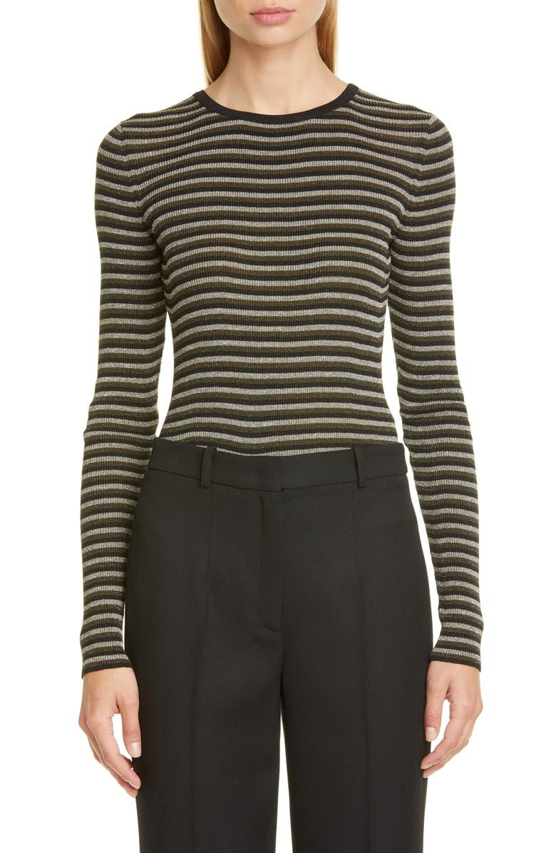 MICHAEL KORS COLLECTION Michael Kors Metallic Stripe Crewneck Sweater, Main, color, BLACK