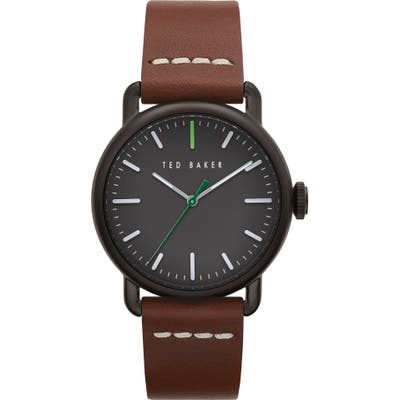 Ted Baker London Tomcooa Leather Strap Watch, 40Mm