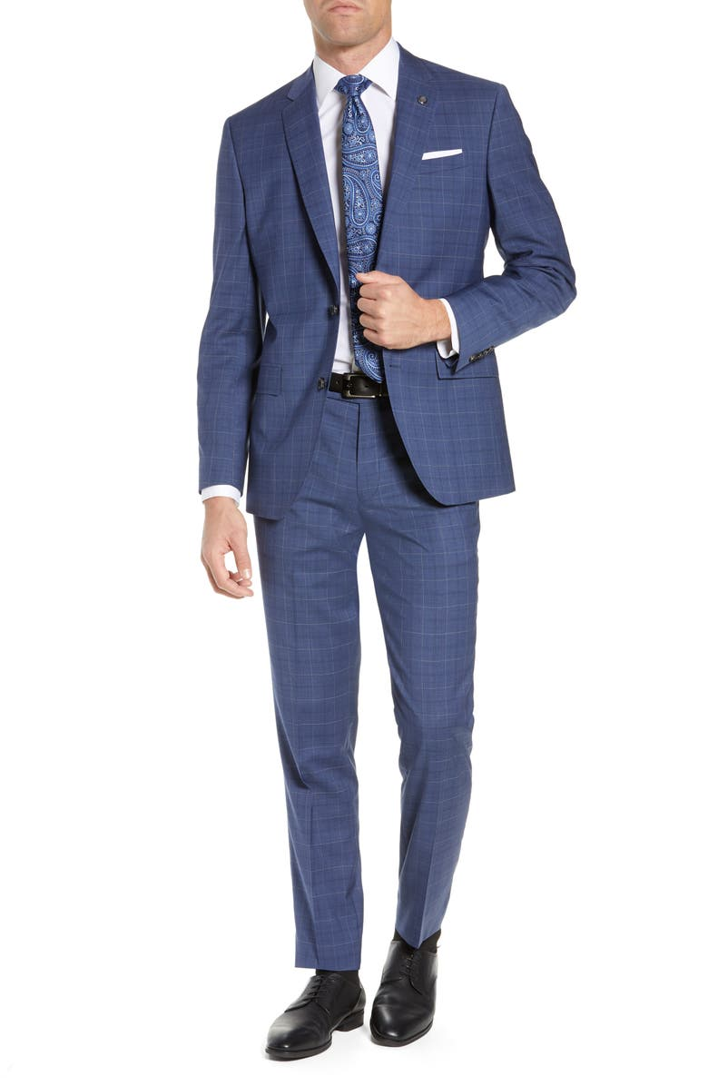 TED BAKER LONDON Jay Trim Fit Windowpane Wool Suit, Main, color, BLUE