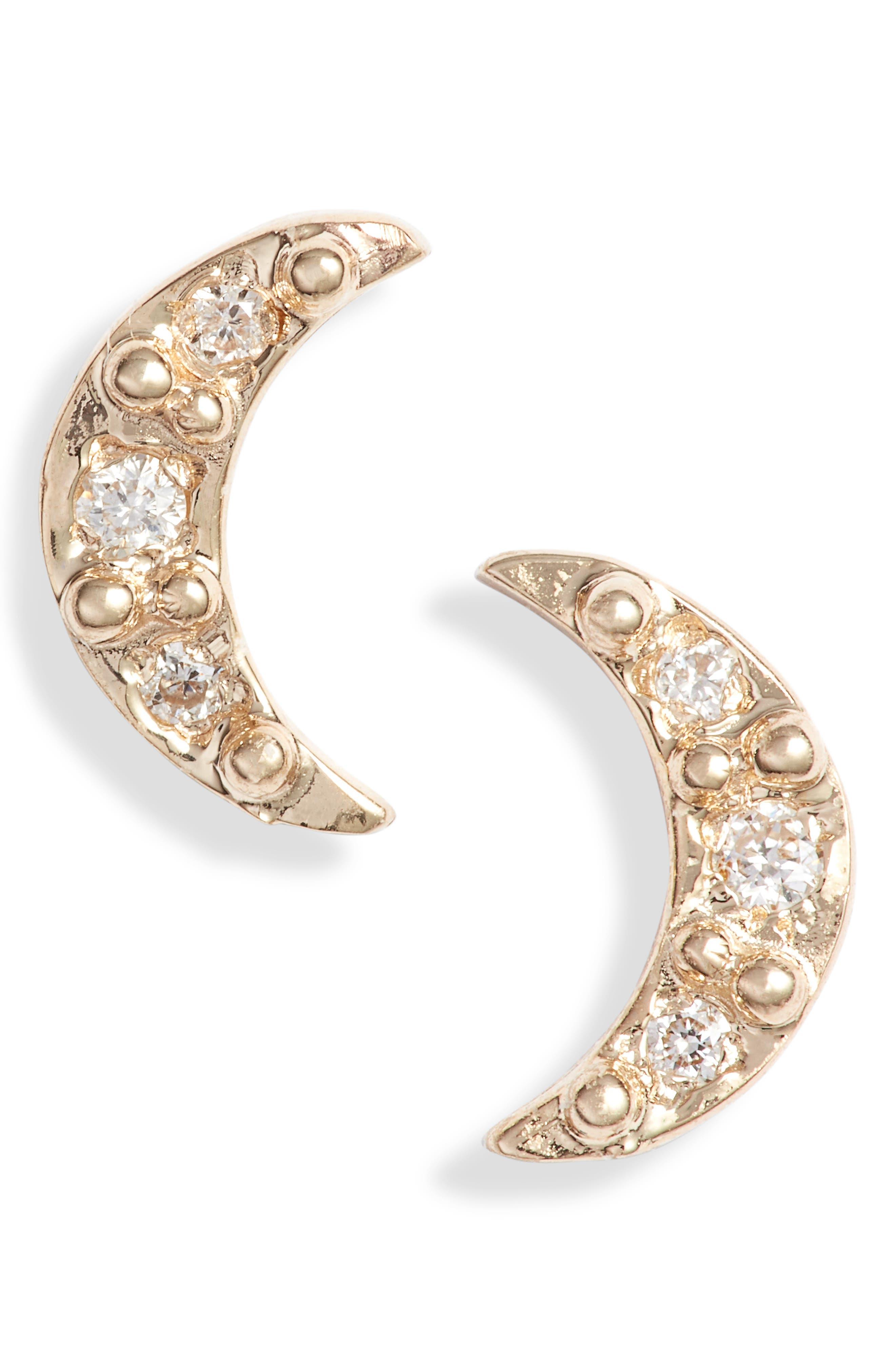 Mini Diamond Moon Stud Earrings