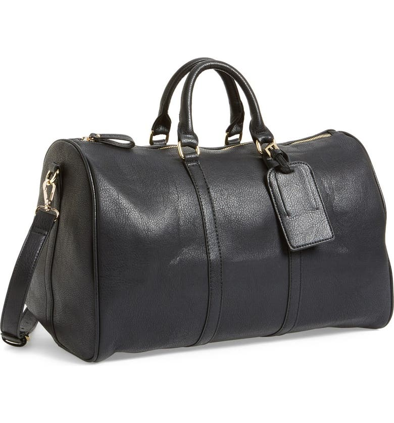 SOLE SOCIETY Cassidy Faux Leather Duffle Bag, Main, color, BLACK