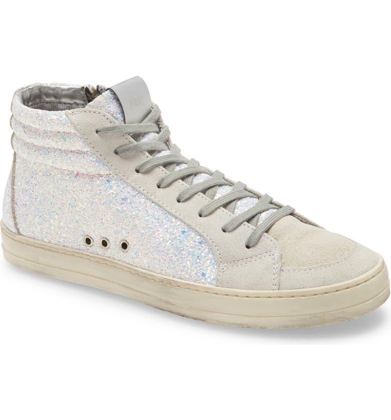 P448 Skate High Top Sneaker, Main, color, WHITE GLITTER