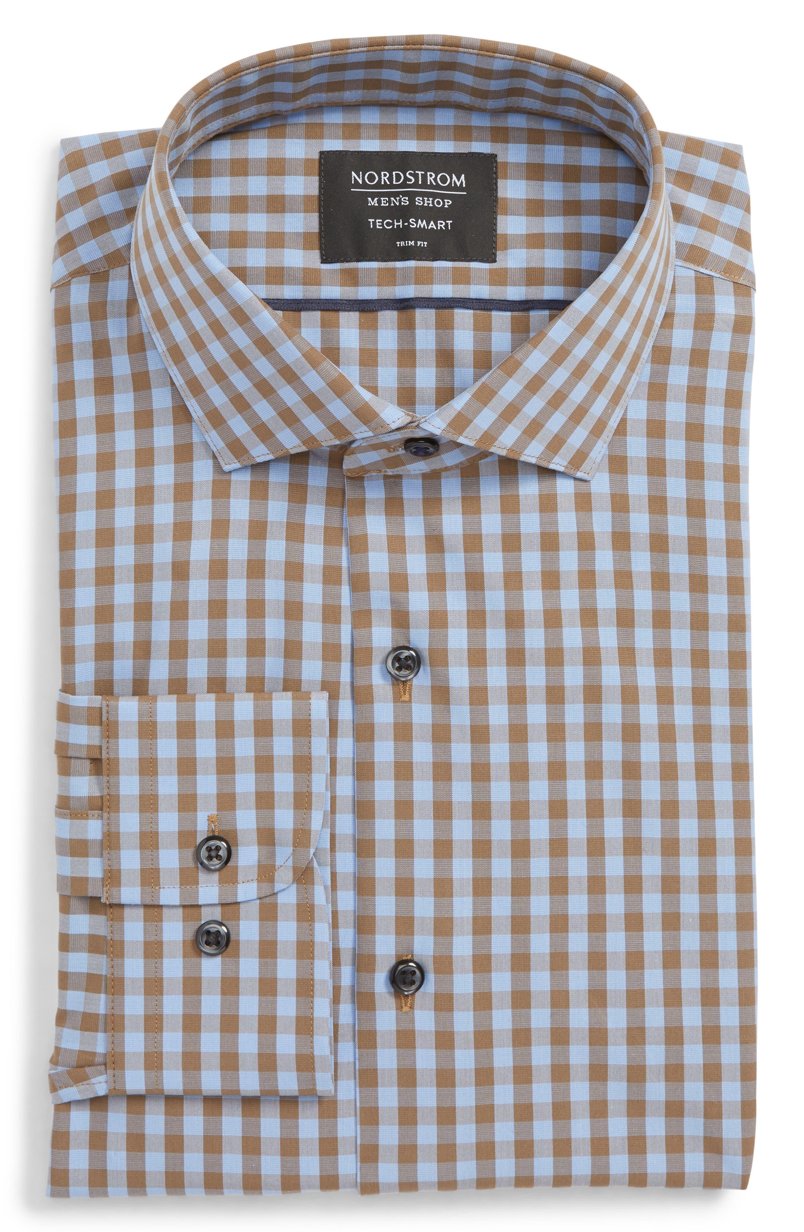 ,                             Tech-Smart Trim Fit Stretch Check Dress Shirt,                             Main thumbnail 13, color,                             210
