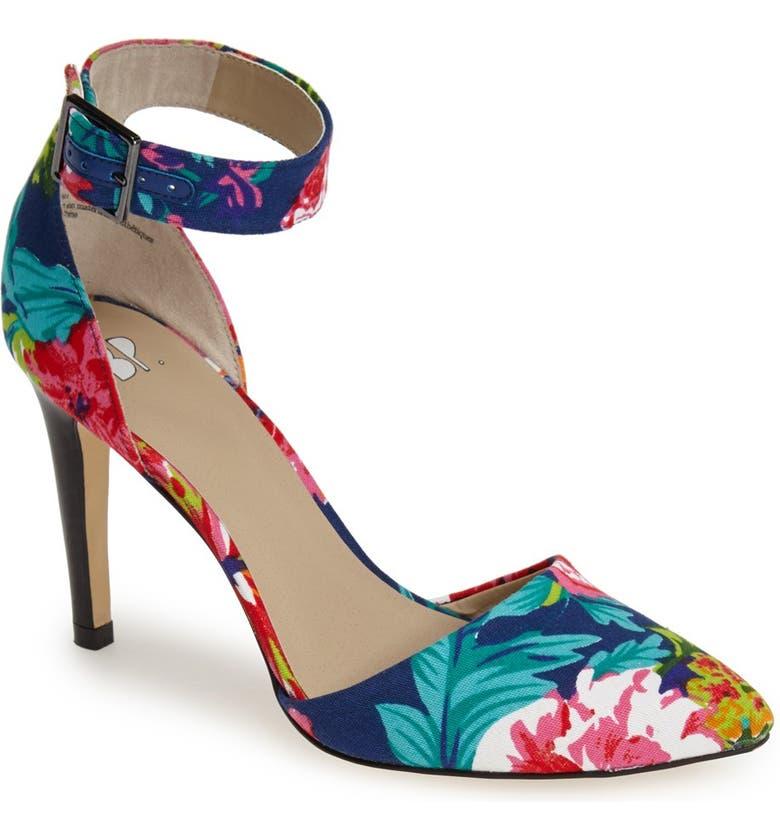 BP. 'Mallory' Floral Print Ankle Strap Pump, Main, color, FLORAL