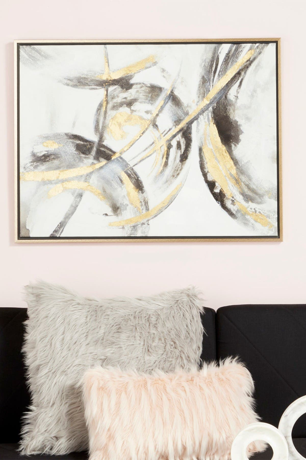 Image of CosmoLiving by Cosmopolitan Large Metallic Gold & Black Contemporary Abstract Framed Art Painting