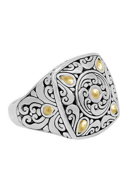 Image of DEVATA Sterling Silver & 18K Gold Square Ring