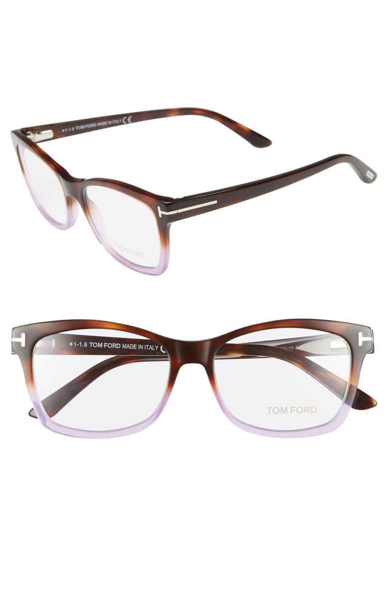 TOM FORD 53mm Optical Glasses, Main, color, HAVANA GRADIENT/ DARK HAVANA