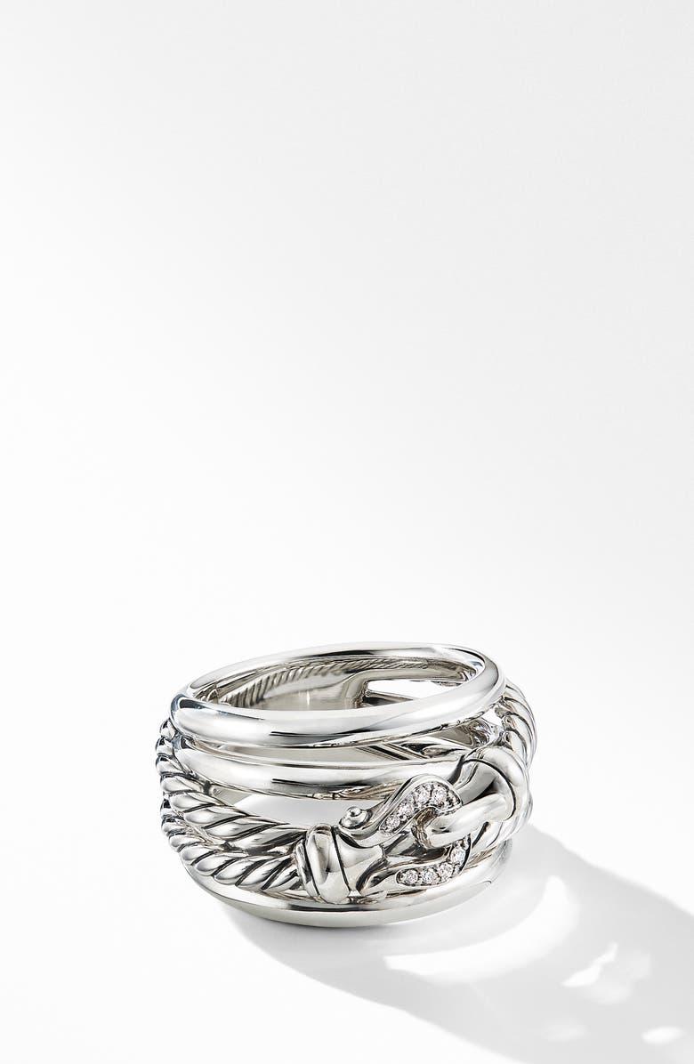DAVID YURMAN Buckle Ring with Diamonds, Main, color, SILVER/ DIAMOND