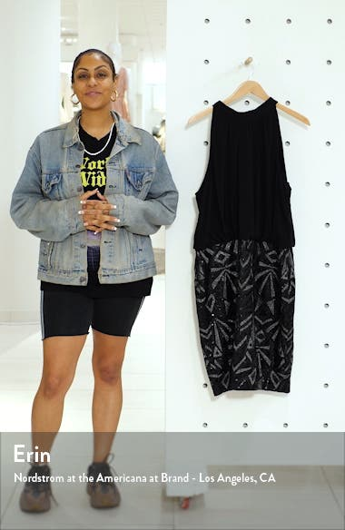 Halter Neck Geo Embellished Blouson Dress, sales video thumbnail