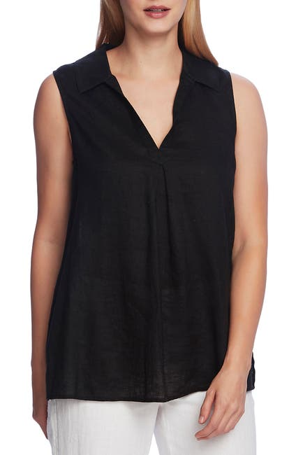 Image of Vince Camuto Sleeveless Split Neck Linen Tunic