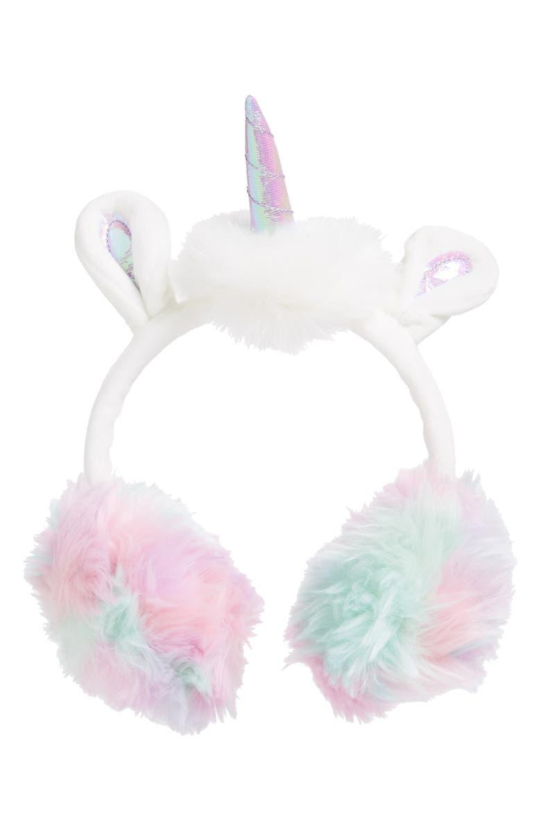TUCKER + TATE Unicorn Earmuffs, Main, color, IVORY EGRET UNICORN