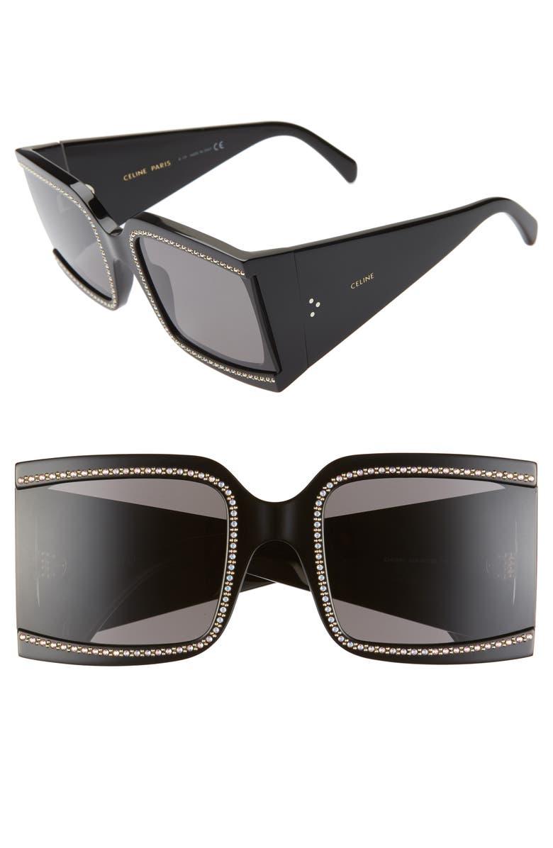 CELINE 60mm Square Sunglasses, Main, color, MATTE BLACK/ SMOKE