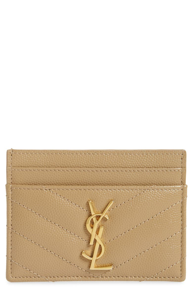 SAINT LAURENT Monogram Quilted Leather Credit Card Case, Main, color, LATTE