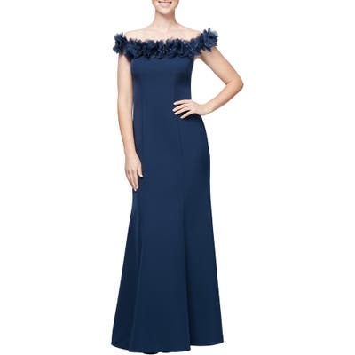 Petite Alex Evenings Floral Applique Off The Shoulder Trumpet Gown, Blue