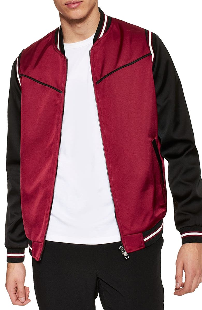 TOPMAN Smart Bomber Jacket, Main, color, RED MULTI