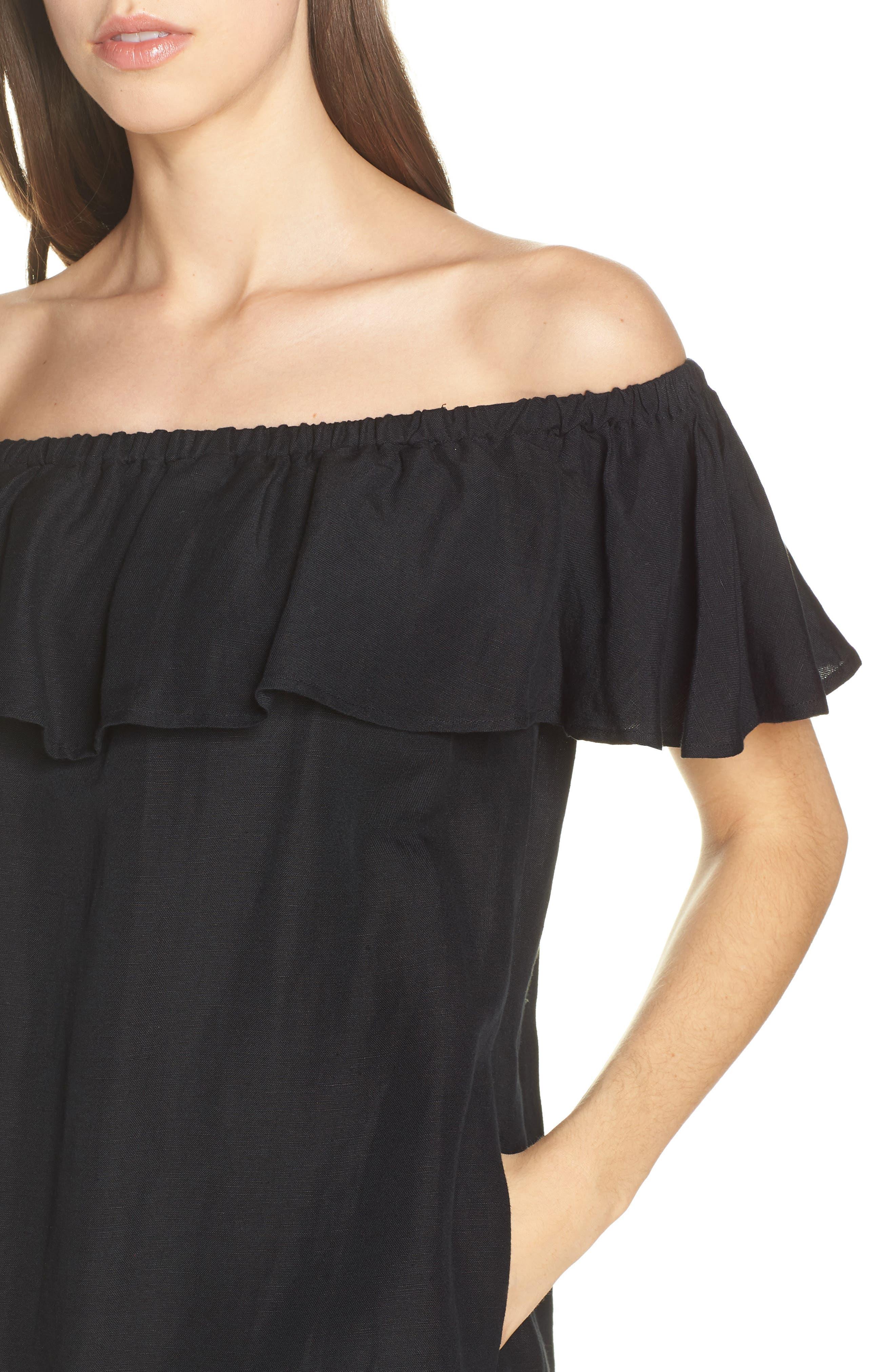 ,                             Off the Shoulder Cover-Up Dress,                             Alternate thumbnail 5, color,                             002