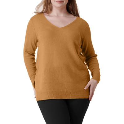 Plus Size Maree Pour Toi Wool & Cashmere Sweater, Brown