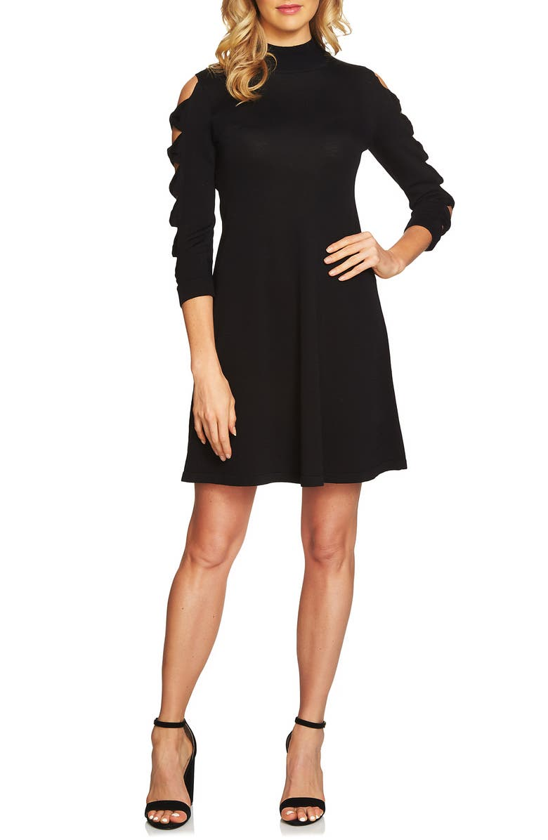 CECE Bow Sleeve Sweater Dress, Main, color, RICH BLACK