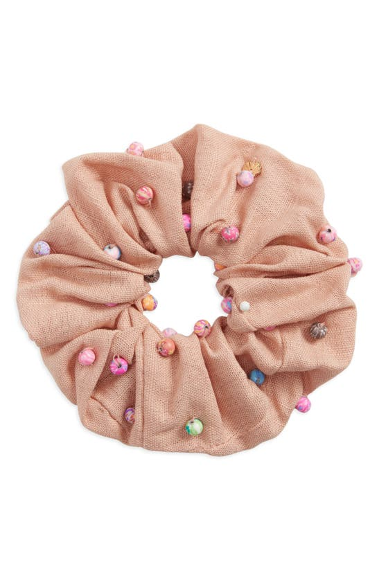 Lele Sadoughi Beaded Oversize Woven Scrunchie In Coral