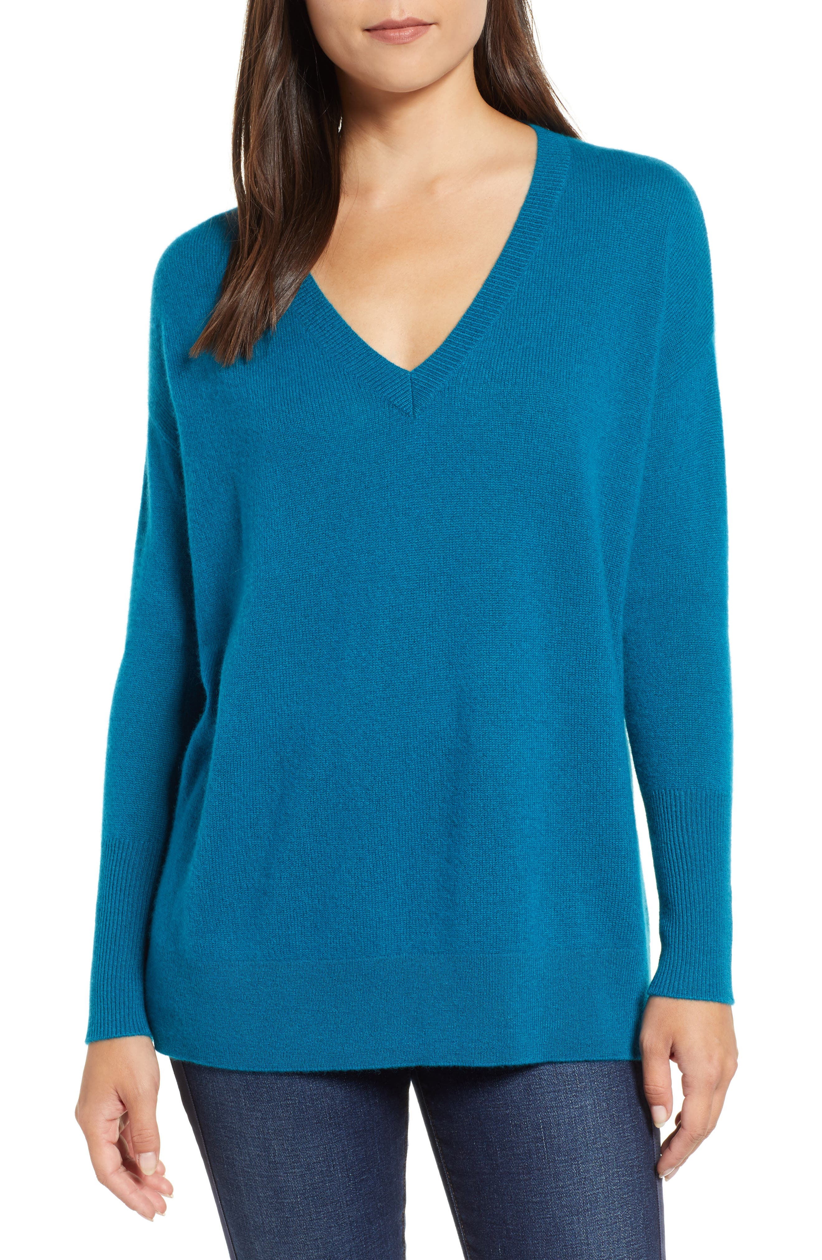 ,                             Relaxed V-Neck Cashmere Sweater,                             Main thumbnail 50, color,                             449