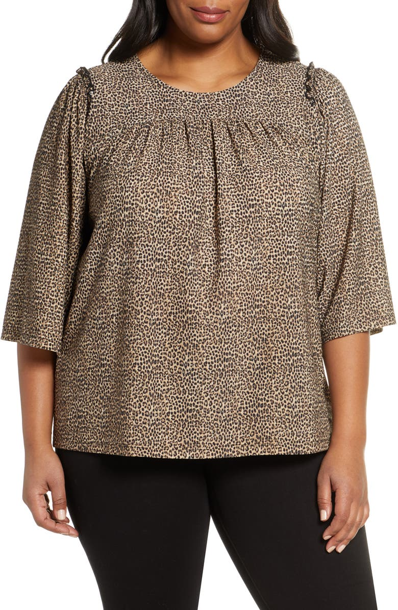 MICHAEL MICHAEL KORS Cheetah Print Ruffle Detail Blouse, Main, color, 211