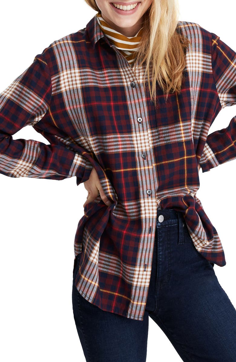 MADEWELL Rylan Plaid Oversize Ex-Boyfriend Shirt, Main, color, SIENNA PLAID DARK NIGHTFALL