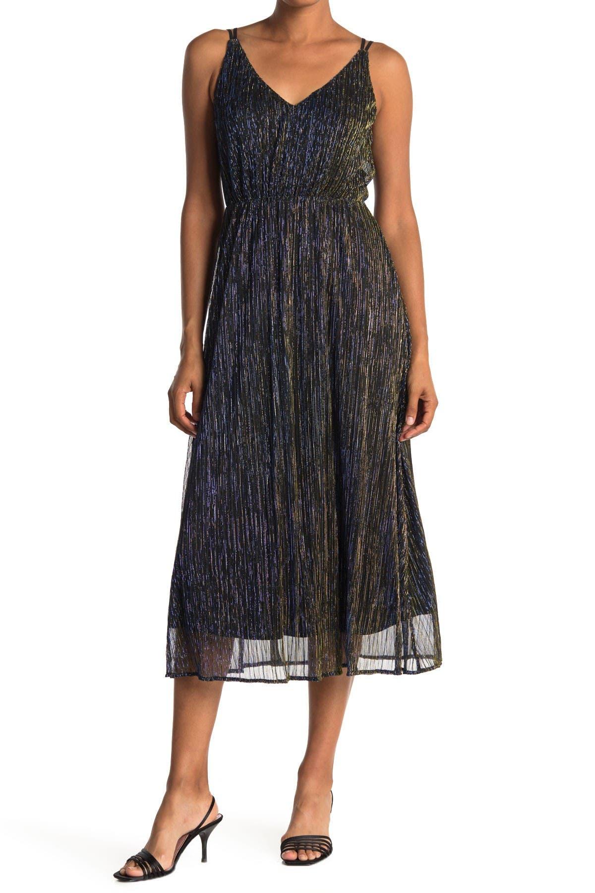 Image of Sam Edelman Metallic Plisse Midi Dress