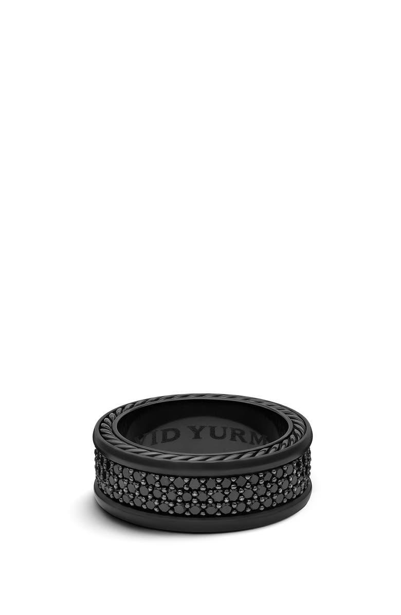 DAVID YURMAN Streamline 3-Row Titanium Band with Pavé Black Diamonds, Main, color, BLACK TITANIUM/ BLACK DIAMOND
