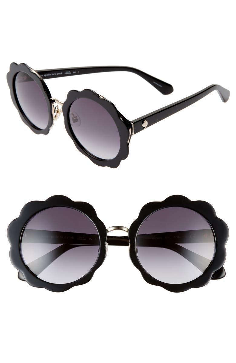 KATE SPADE NEW YORK karries 52mm round sunglasses, Main, color, BLACK