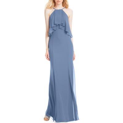 #levkoff Flutter Halter Chiffon A-Line Gown, Blue