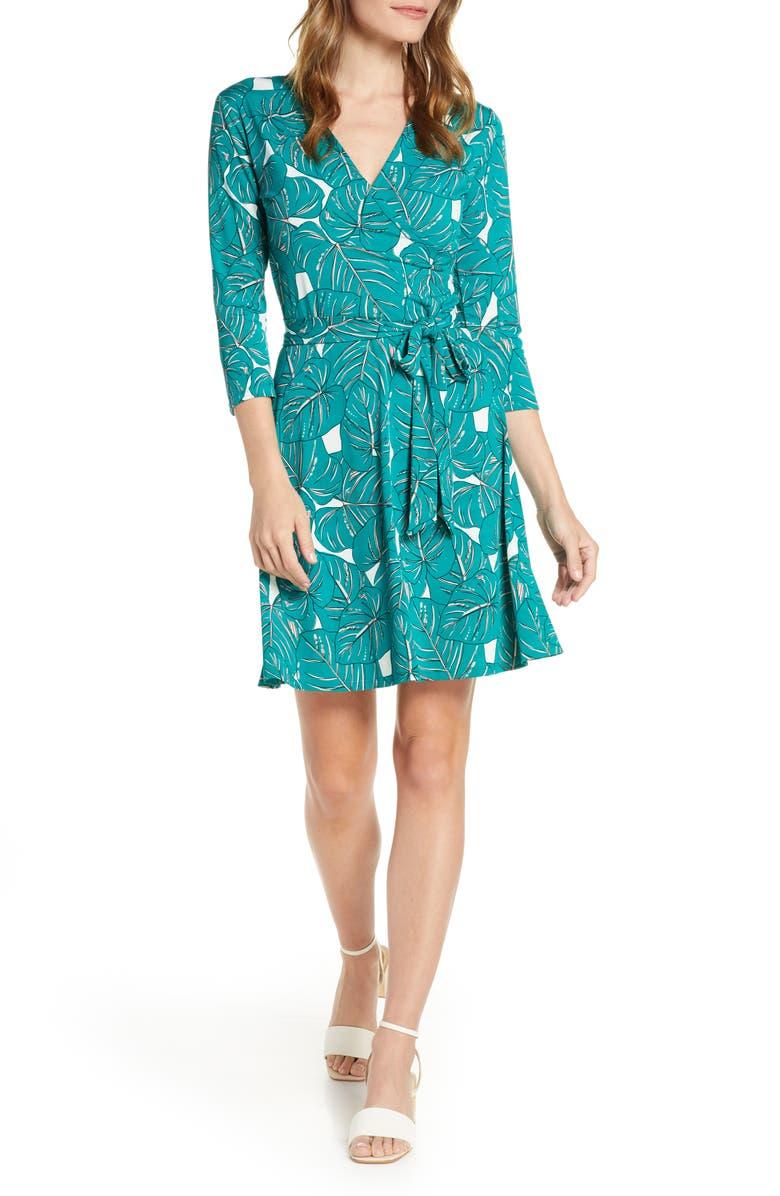 LEOTA Print Jersey Faux Wrap Dress, Main, color, RAINFOREST