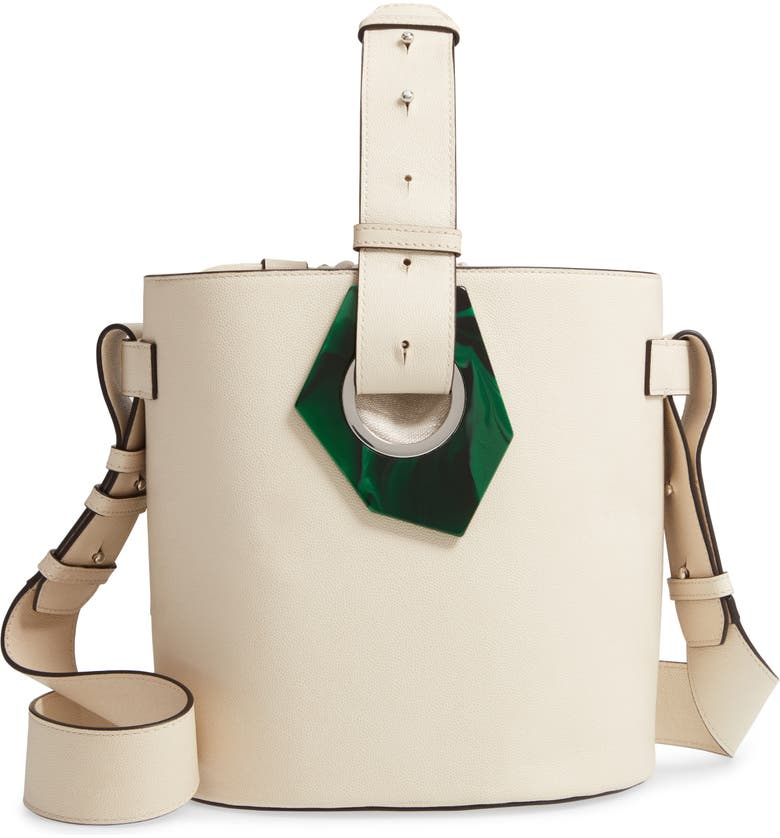 GANNI Leather Bucket Bag, Main, color, EGRET