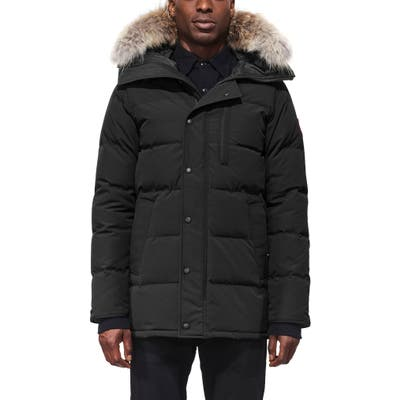 Canada Goose Carson Fusion Fit Hooded Down Parka With Genuine Coyote Fur Trim, Black