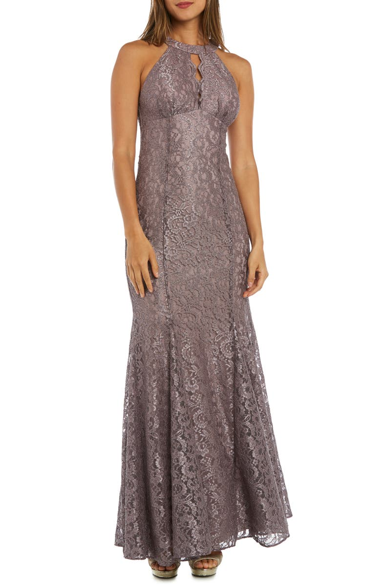 MORGAN & CO. Glitter Lace Trumpet Gown, Main, color, MOCHA