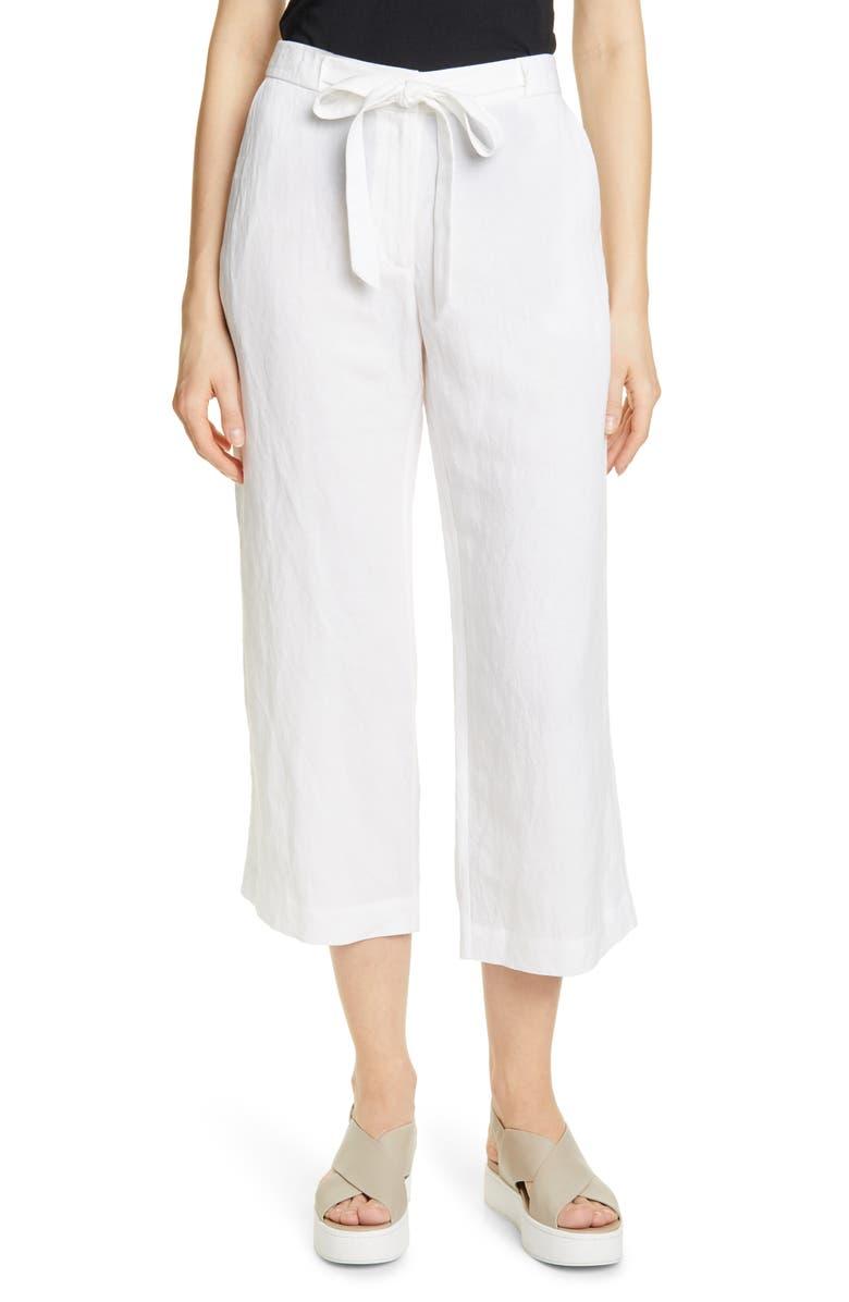 JENNI KAYNE Drawstring Waist Crop Pants, Main, color, IVORY