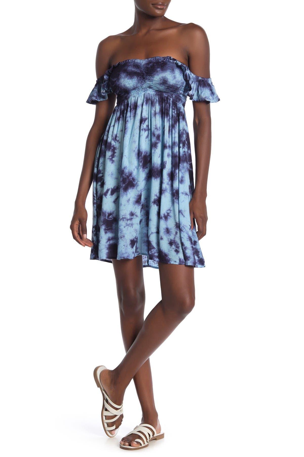 Image of BOHO ME Tie Dye Smocked Off-the-Shoulder Dress