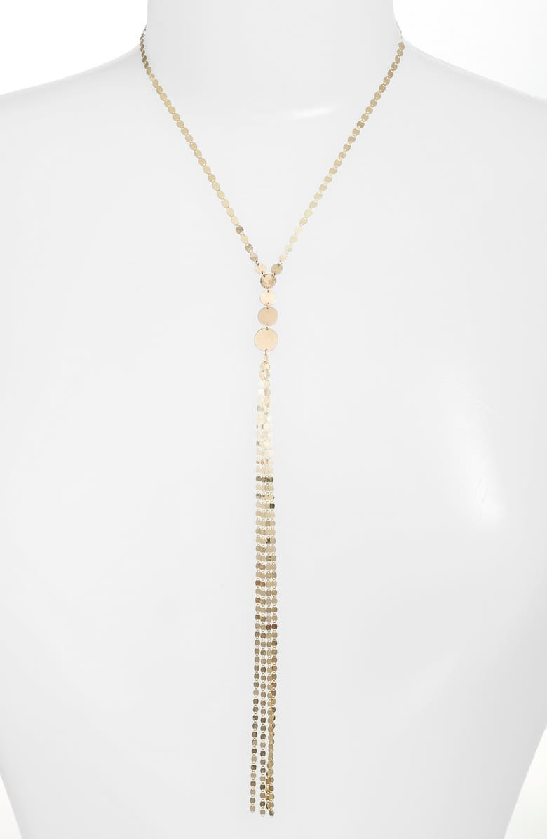 LANA JEWELRY Disc Y-Necklace, Main, color, YELLOW GOLD