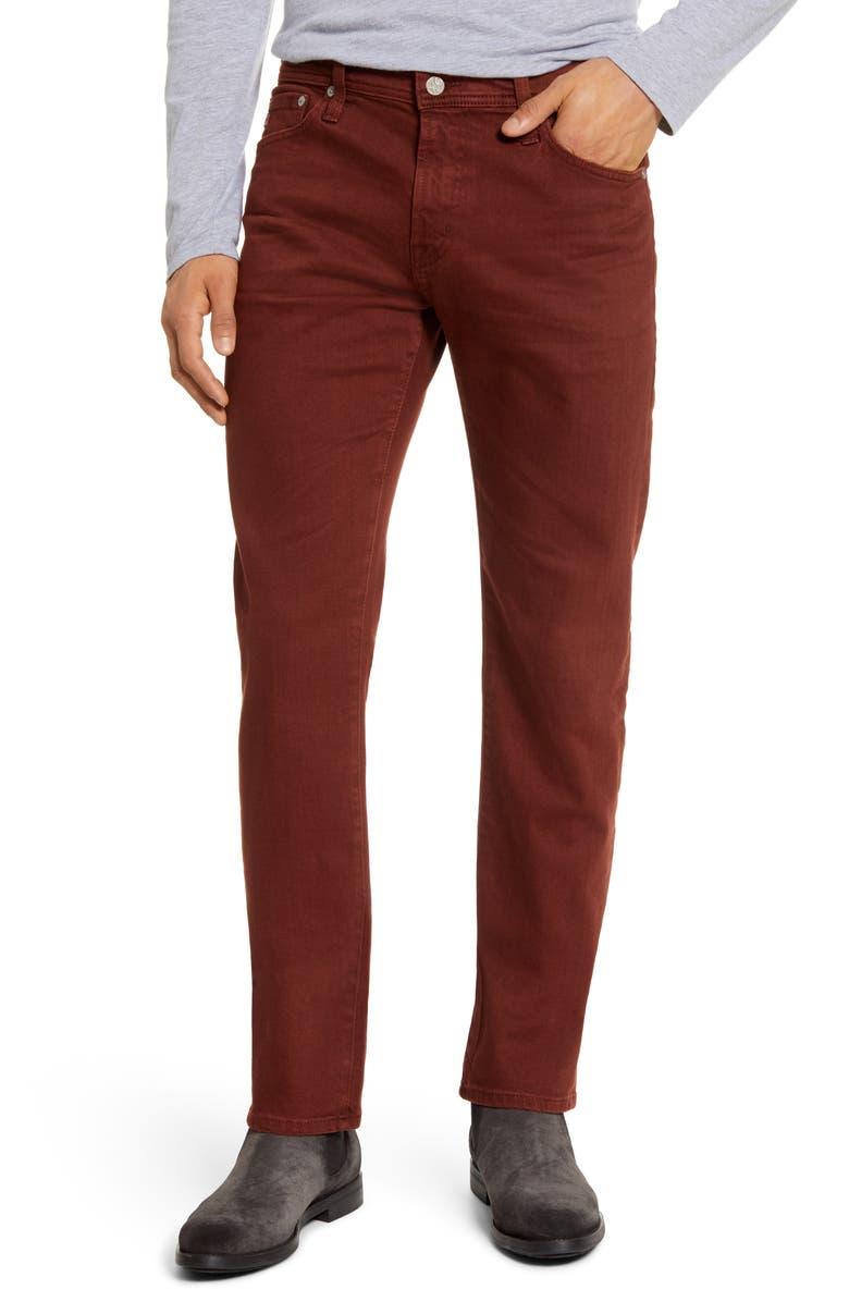 AG Tellis Slim Fit Jeans, Main, color, 7 YEARS SULFUR RICH CRIMSON