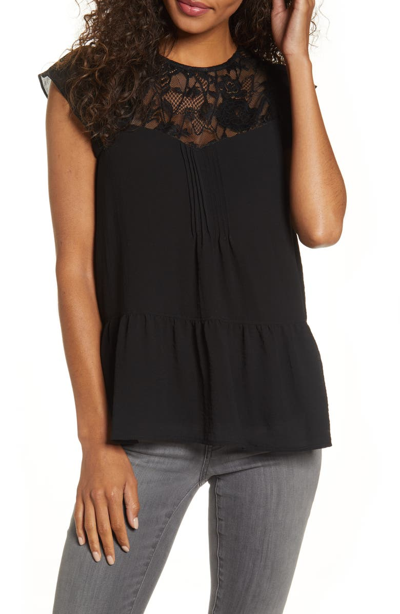 GIBSON x Fall Refresh Living in Yellow Lace Mix Top, Main, color, BLACK
